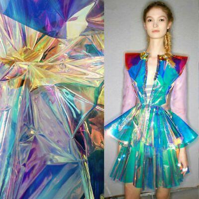 Iridescent Holographic Clear Pvc Fabric Vinyl Sheets Rainbow Film For Bag Crafts 2 34 Picclick Ca Pvc Fabric Leather Fabric Fabric
