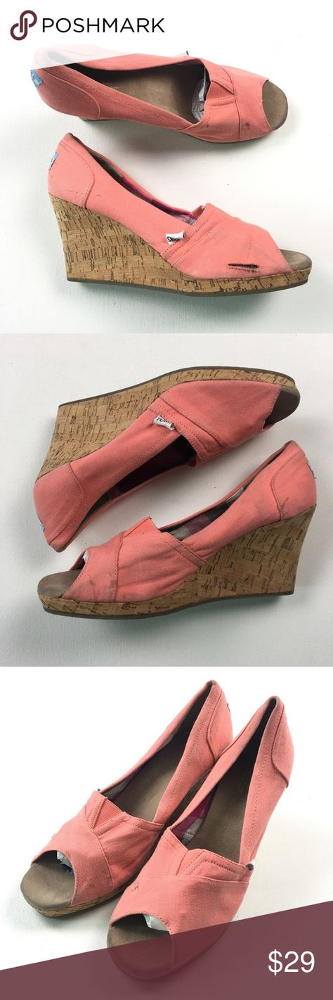 1c9dd287204 Toms Womens Pink Canvas Wedges Booties Size 11 A05 Pre owned. Some marks on  left