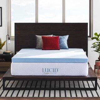 Lucid Comfort Collection 4 Inch Gel Memory Foam Topper Blue