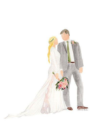 10 Color Copies 8x10 Wedding Portrait Custom Watercolor