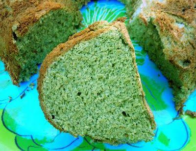 matcha green tea angel food cake. super healthy, but super involved.