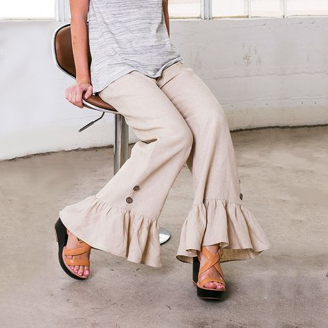 Preppy Doll Made in USA Women's Linen Pants with Elastic