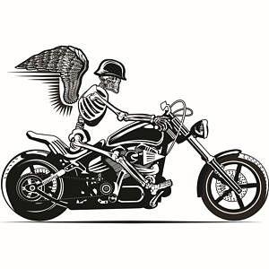 Skull 13 Motorcycle Chopper Helmet White Vinyl Sticker Decal Decal Car Truck Auto Jeep Wall Art