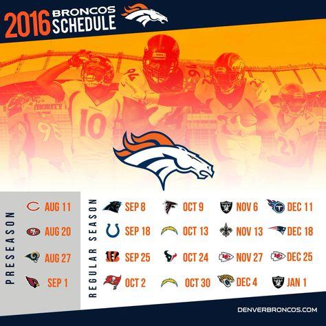 Denver Broncos 2016-2017 Football Schedule.