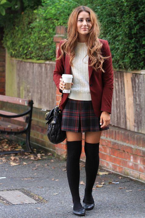 Sweater, plaid skirt, blazer, and knee high socks ♡ outfits