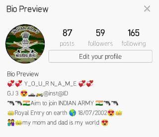 Best Indian Army Instagram Bio Ideas 2020latest Instagram Bio For Army Lover Instagram Bio Bio Indian Army