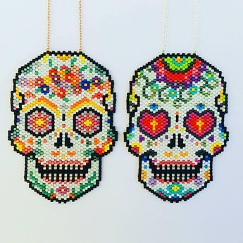 Sautoir Crâne Mexicain Tête De Mort Perles Miyuki Et Argent