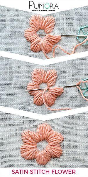 Flower embroidery day 5: satin stitch flower #sticken