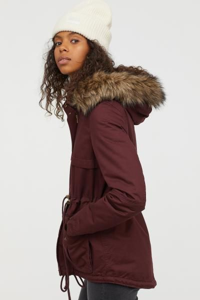 Burgundy Parka Coat Ladies