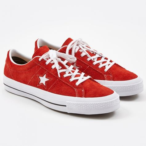 548fb3bb8e53b9 Converse One Star Hairy Suede - Red