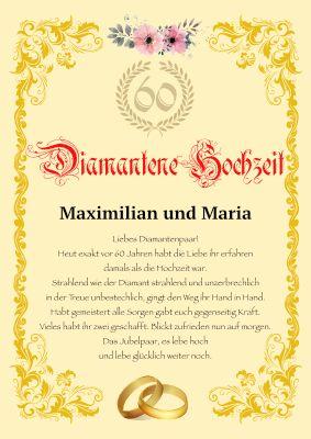 Diamantene Hochzeit 60 Jahriger Hochzeitstag Hochzeitsurkunde Mit Texteindruck Diamantene Hochzeit Porzellanhochzeit Goldene Hochzeit
