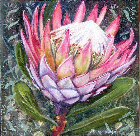 Protea Flower Protea Art Flower Painting Cactus Paintings