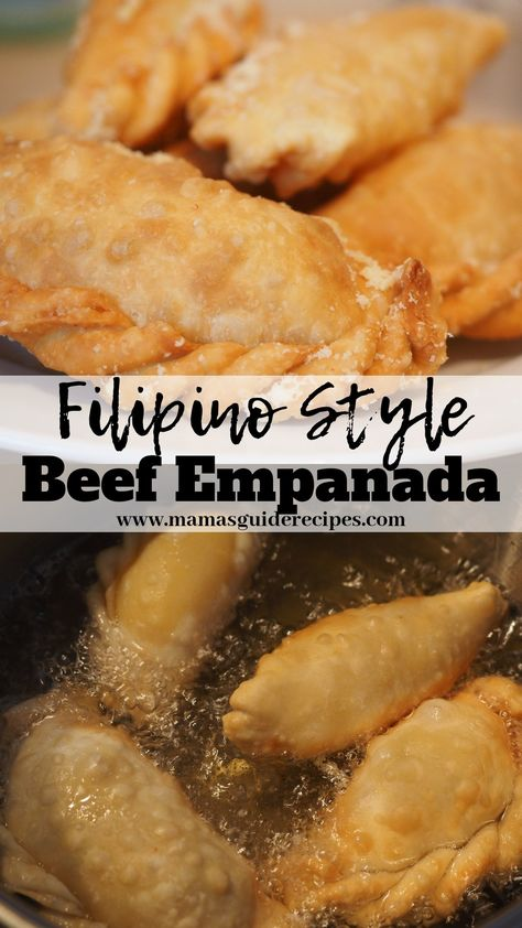 These Homemade Beef Empanada Recipe is Filipino style recipe. Super delicious and you just have to fry it. Empanadas Recipe Dough, Baked Empanadas, Beef Empanada Recipe, Empanada Recipe Panlasang Pinoy, Chicken Empanadas Recipe Easy, Empanadas Dough For Frying, Dessert Empanadas Recipe, Mexican Food Recipes, Recipes