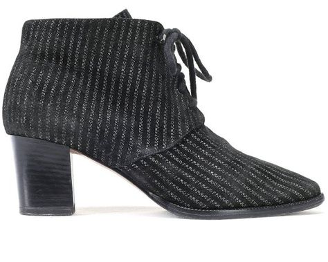 bc51da2d7dd US women 6.5 Striped Ankle Boots 80s Black Suede Pin Stripe Lace Up ...