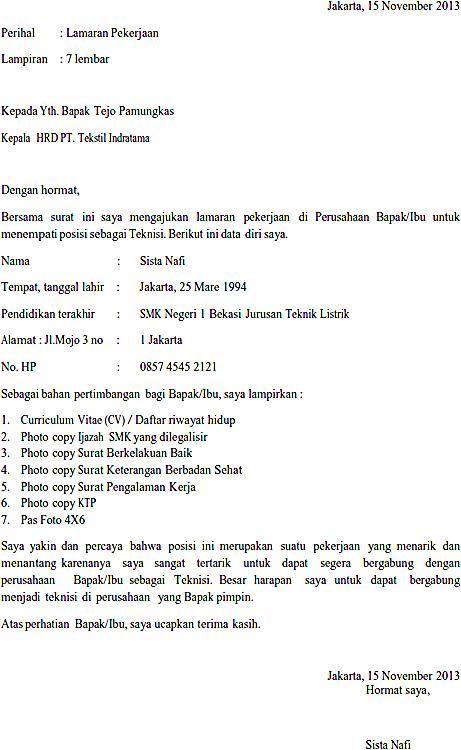 Contoh Surat Lamaran Kerja Cv Dalam Bahasa Inggris Best Resume
