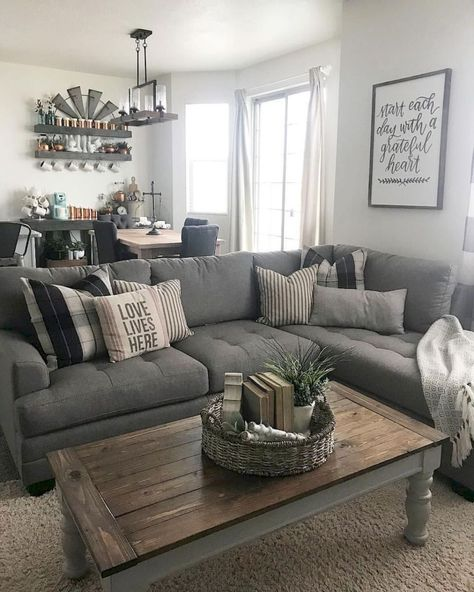 Coffee table, open shelves decos, couch and wall colors... 79 cozy modern farmhouse living room decor ideas