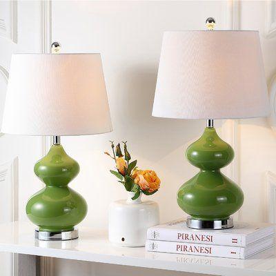 Wade Logan Courtney 24 Table Lamp Set Base Color Fern Green Table Lamp Sets Green Table Lamp Green Lamp