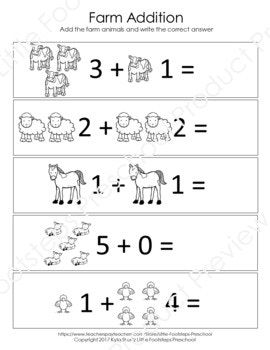 Farm Math Worksheets Farm Math Math Worksheets Kindergarten Worksheets