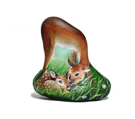 paintedstone Mom deer with her baby...