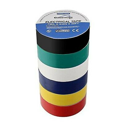 6-Pack Commercial Electric Long Lasting Electric Tape Multi-Color