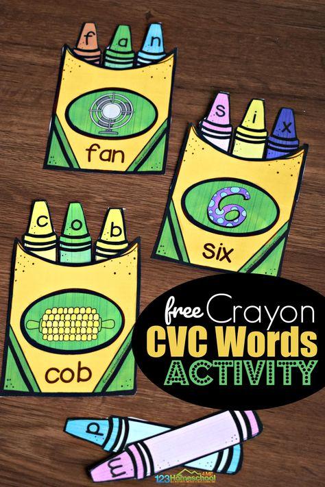 FREE Crayon CVC Words Activity - such a fun, hands on spelling activity for preschool, prek, and kindergarten age kids #backtoschool #cvcwords #kindergarten