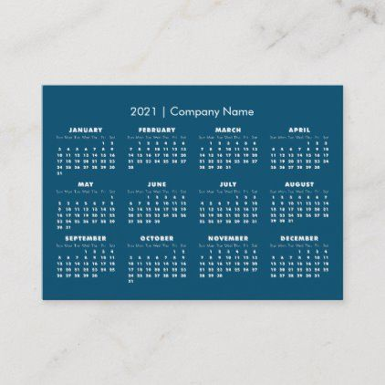Simple Modern 2021 Calendar Company Name Business Card | Zazzle