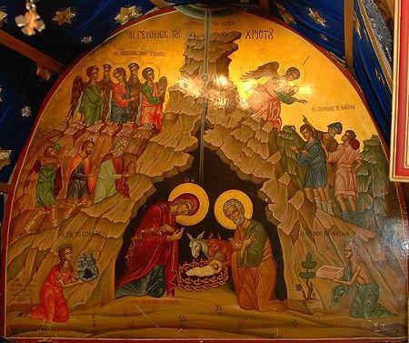 Икона Рождества Христова в Вифлееме | Вертеп, Рождественские иллюстрации,  Творческие работы из переработанных материалов