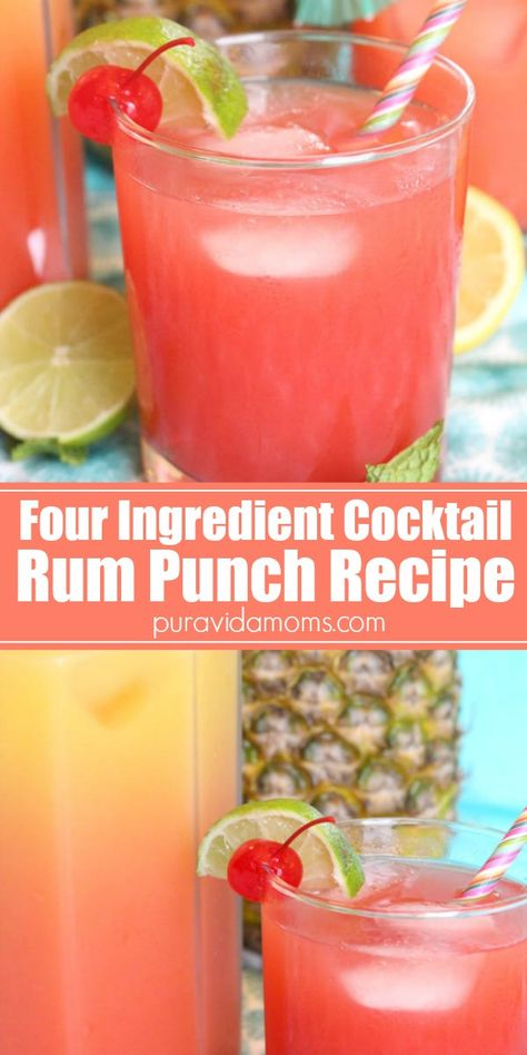 Three fruit juices and clear rum make this easy tropical rum punch cocktail recipe the perfect party drink. Single-serve and pitcher instructions. Malibu Rum Drinks, Pineapple Rum Drinks, Fruity Alcohol Drinks, Alcohol Drink Recipes, Vodka Cocktails, Mixed Drink Recipes, Cocktails For Parties, White Cocktails, Fruit Drinks