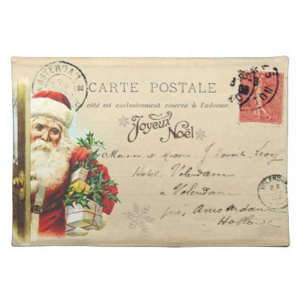 Vintage French Santa Postcard Christmas Placemat Merry Christmas Postcards Postal Family Xmas Card Holida Christmas Postcard Christmas Placemats French Santa