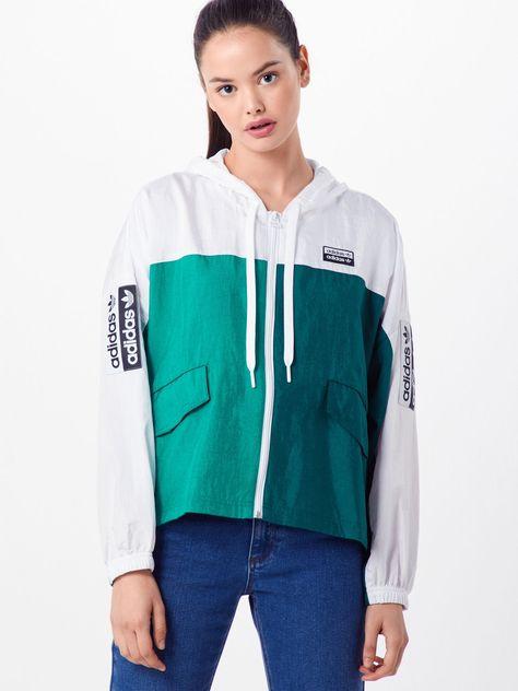 Adidas Originals Regenjacke Windbreaker Funktionsjacke mit Kapuze grün Gr M