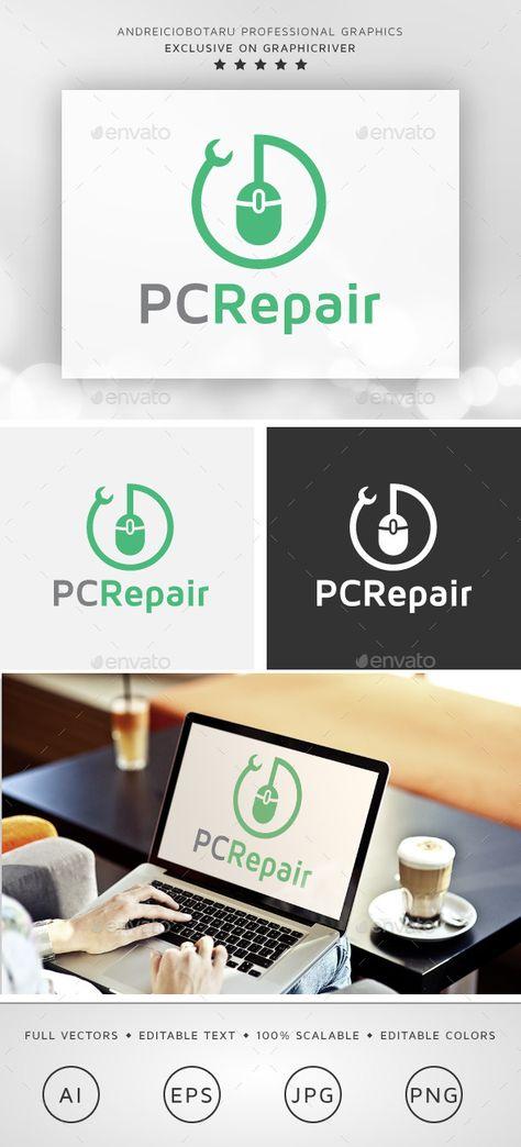 PC Repair Logo (JPG Image, Vector EPS, AI Illustrator, Resizable, CS, computer, desktop, fix, maintenance, pc, repair, service, solutions)