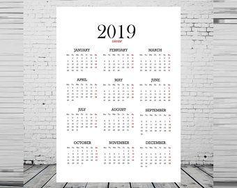 Printable Calendar 2019 2019 Calendar Desk Calendar Digital