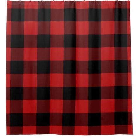 Red Buffalo Plaid Home Decor Shower Curtain Zazzle Com Home Decor Modern Shower Curtains Plaid Shower Curtain