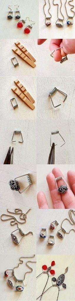Collier grâce à une pince à linge