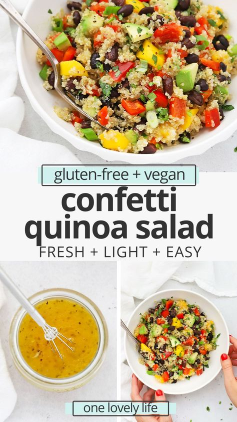Confetti Quinoa Salad with Lime Dressing- One of my family's all time favorite recipes, this colorful healthy quinoa salad is perfect for picnics, potlucks, barbecues, lunches, meal prep, and more! (Gluten-Free, Vegan) // Healthy Quinoa Salad Recipe // Tex-Mex Quinoa Salad #quinoasalad #glutenfree #vegan #salad