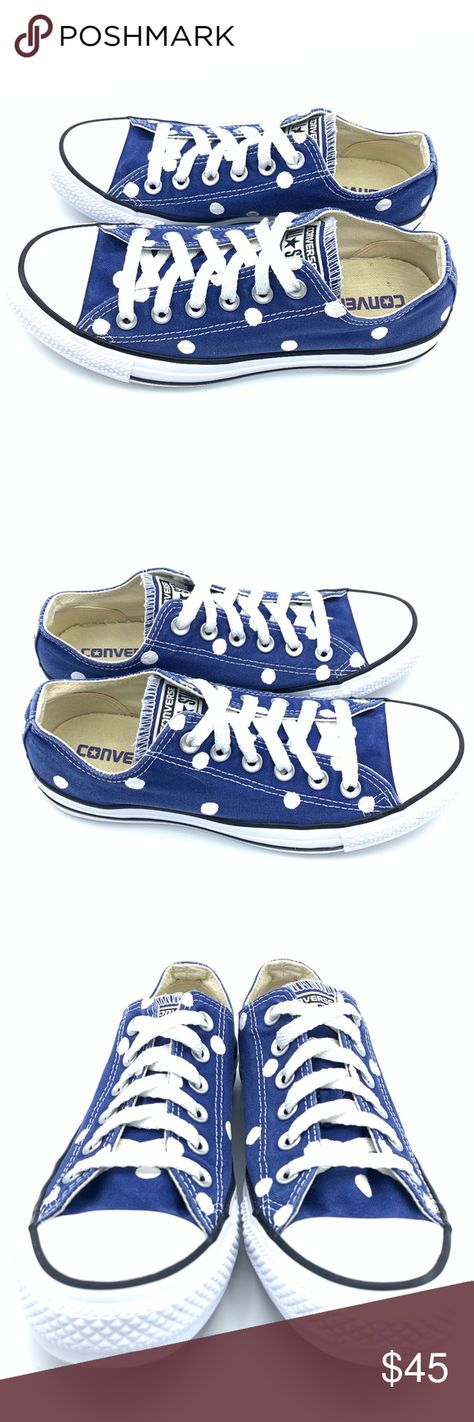 17bfd6d431d4 Converse 8 ROAD TRIP BLUE Polka Dot Chuck Taylor Hand painted unisex  Converse Chuck Taylor All
