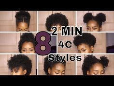 6 Natural Hairstyles On Short Medium Hair 4b 4c Youtube With