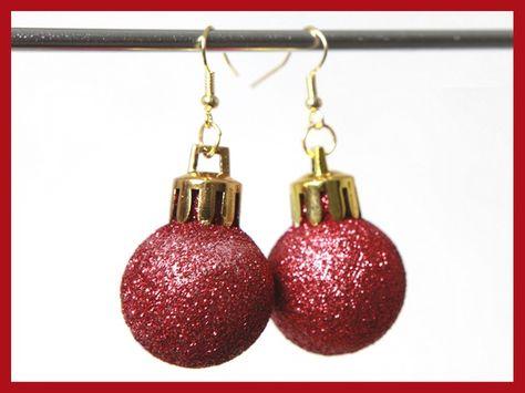 Mini Christbaumkugeln.Ohrhanger Ohrringe Mit Mini Christbaumkugeln Gold Rot