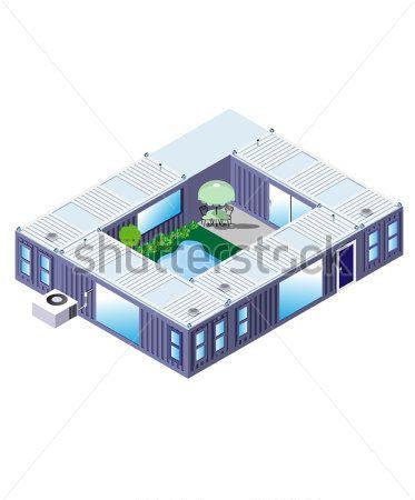 MAISON CONTAINER EN U Container homes Pinterest House, Tiny - plan maison en forme de u