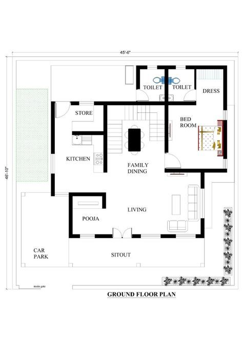 45x46 House Plans For Your Dream House House Plans Duplex House Plans Modern Bungalow House Plans House Plans Mansion