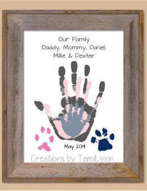 Family and Pet Handprint Art - Home Decor, Mother's Day, Father's Day, B... #Art #Day #Decor #Family #Father39s #Handprint #Home #Mother39s #Pet