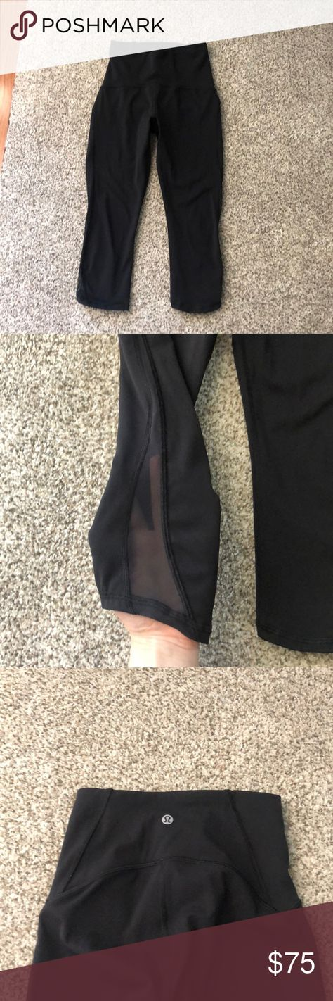 ff2fbd0aaabcc2 Lululemon cropped leggings cropped, black, mesh on the sides leggings  lululemon athletica Pants Leggings