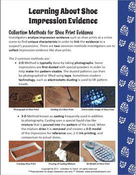 Middle School Forensics Impression Evidence Shoe Prints Concept