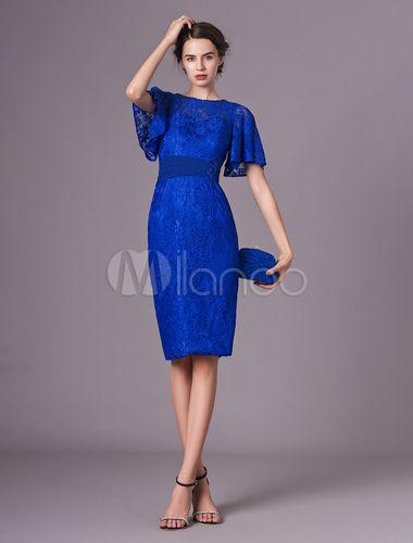 Mother Of The Bride Dresses Lace Short Royal Blue Cocktail Dress
