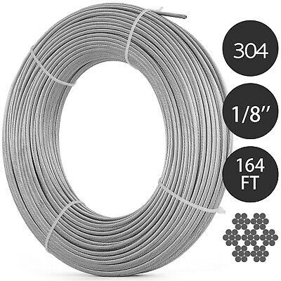 Ad Ebay T304 Stainless Steel Cable 1 8 Inch 7x7 Wire Rope Cable 164ft Strand Winch Rope Stainless Steel Cable Cable Railing Stainless Steel Types