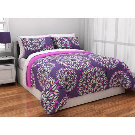Great Reversible Complete Bedding Set, Purple: Teen Rooms : Walmart.com