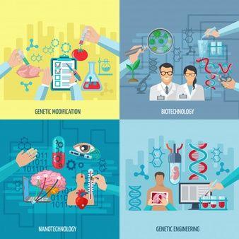 Biotecnologia Iconos Concepto Composicion De Nanotecnologia De Ingenieria Genetica Y Modificacion Genetica E Ilustracion Vectorial Biotecnologia Nanotecnologia