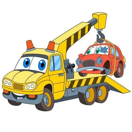 Transporte De Vehiculos De Dibujos Animados Grua Evacuador Con Un Coche Roto Aislado Sobre Fondo Blanco Ilustracion De Vector Infantil Y Pagina De Libro Co Logo De Ferrari Camion De Remolque