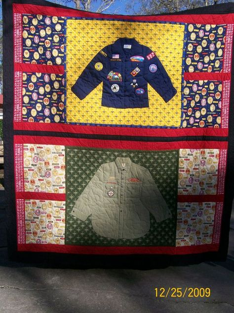 Boy Scout Quilt. Very neat.. need to do this with girl scouts vest and patches.