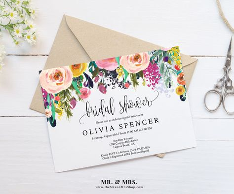 Editable Watercolor Floral Bridal Shower Invitation Template - bridal shower invites templates